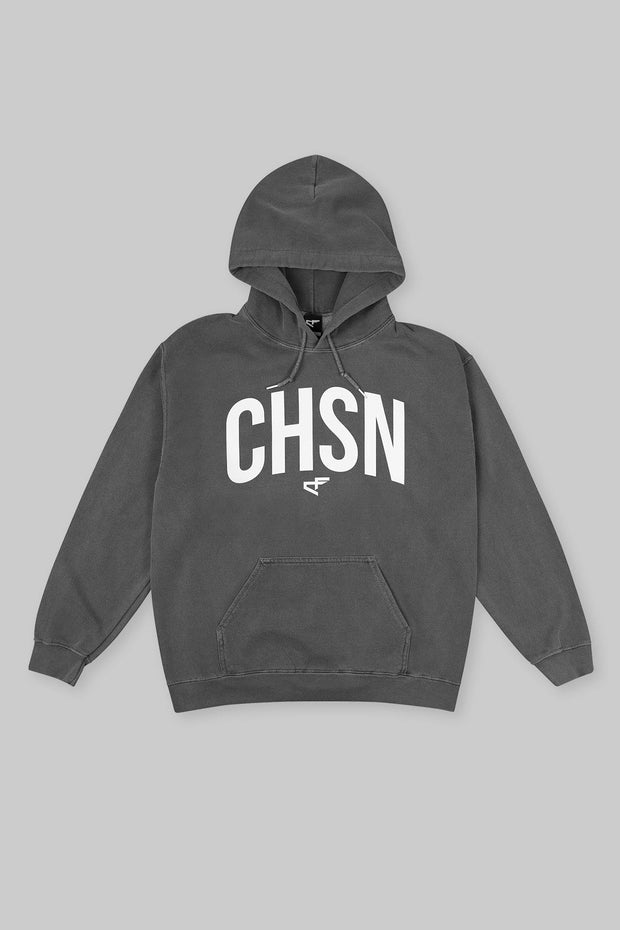 CHSN Arch Hoodie White on Charcoal
