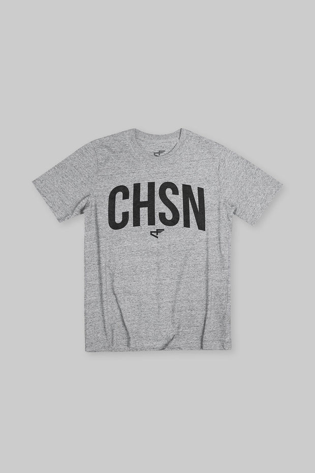 CHSN Arch Heavyweight Tee Black on Heather Grey