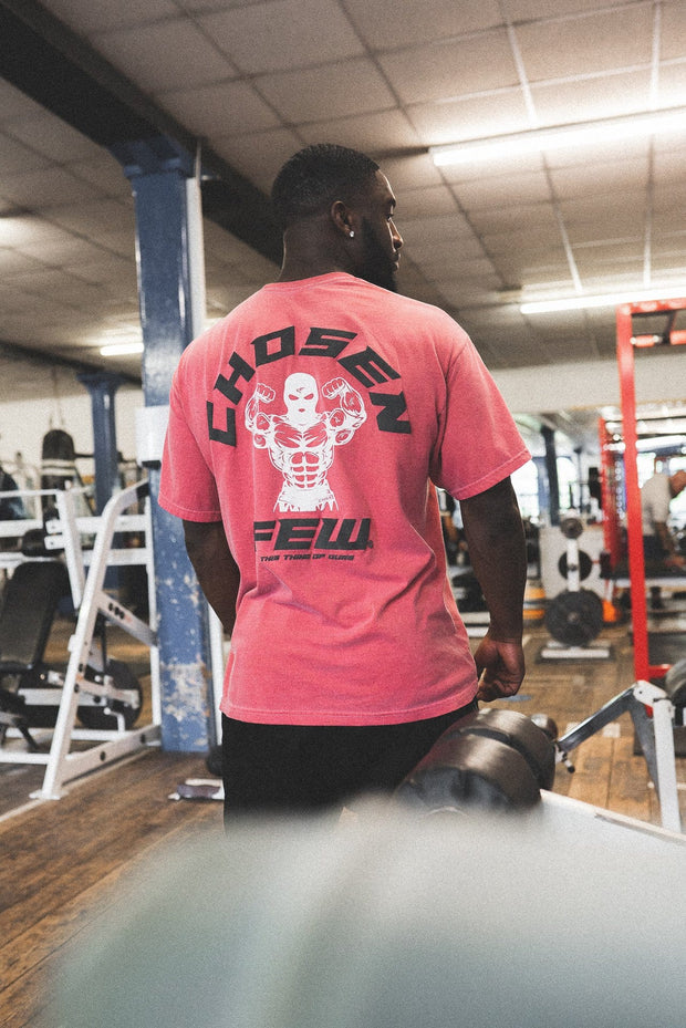 Retro 'G' Gym Tee Black & White on Bulls Red