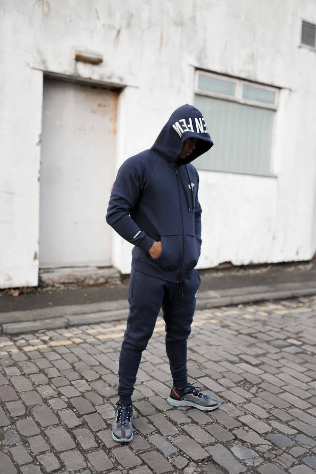 Branded Hoodie Midnight Blue & White
