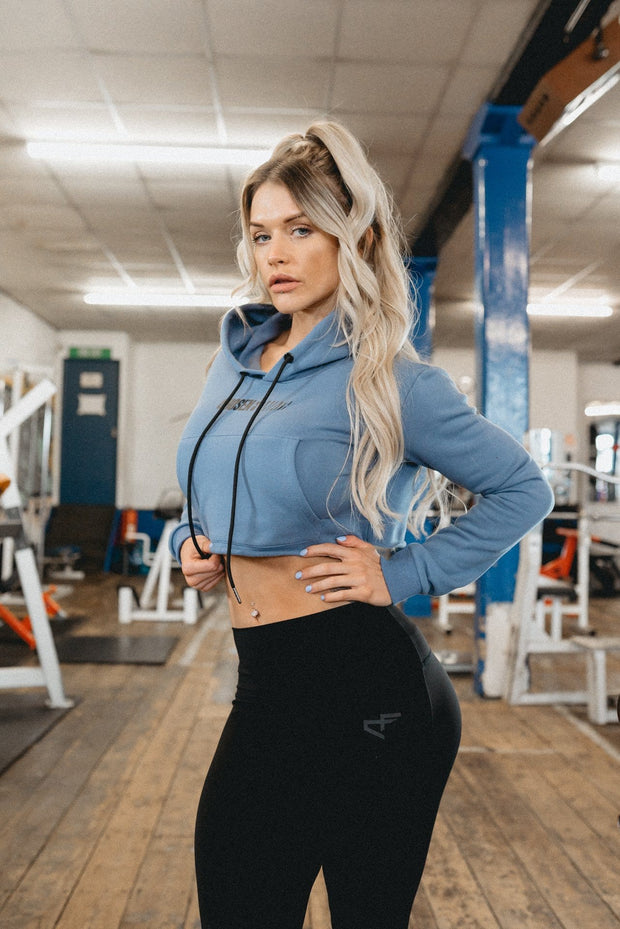 Performance Crop Hoodie Cashmere Blue