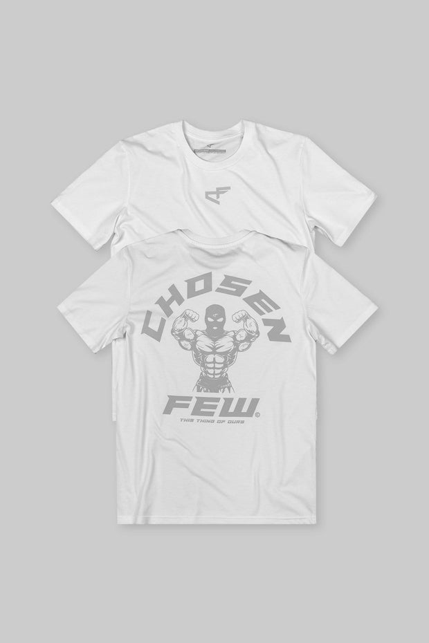 Fitted 'G' Gym Tee White & Silver