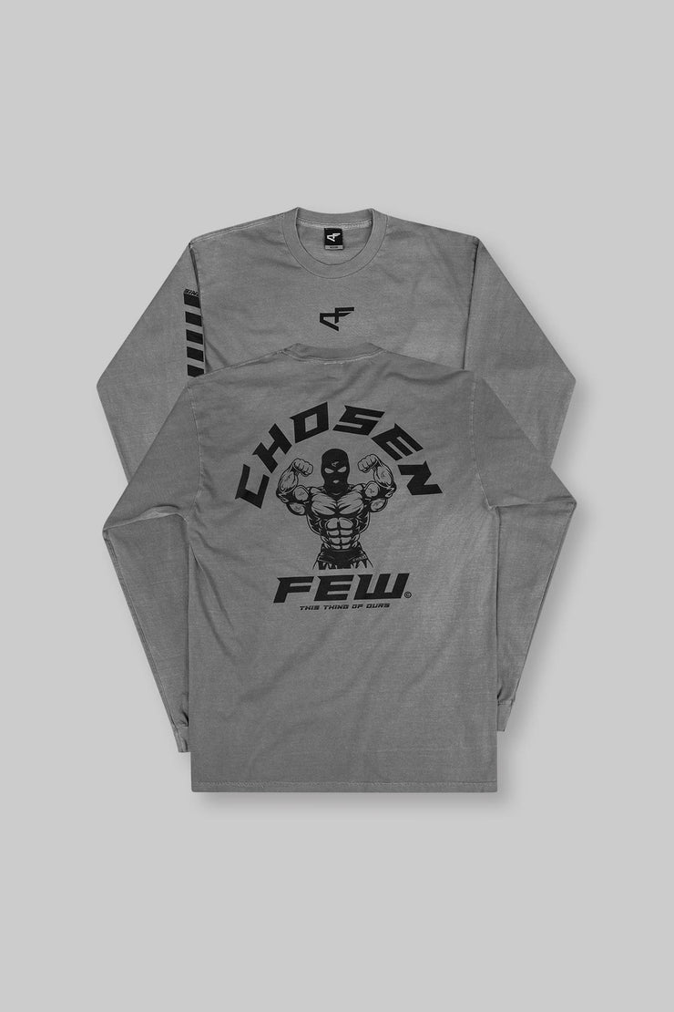 Retro 'G' Gym Long Sleeve Tee Gunmetal Grey & Black