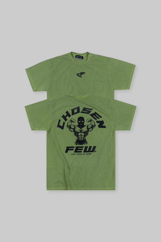 Retro 'G' Gym Tee Khaki Green & Black