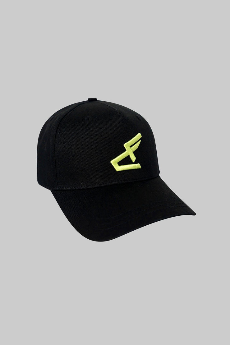 Logo Cap Crooked Black with Neon Yellow