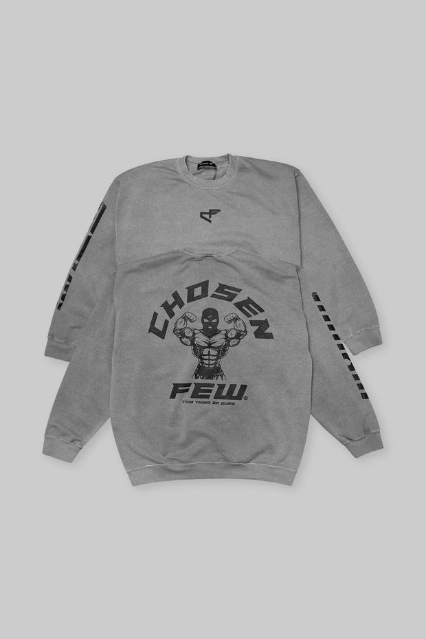 Retro 'G' Gym Crewneck Gunmetal Grey & Black