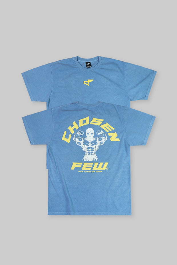 Retro 'G' Gym Tee Yellow & White on Navy Blue