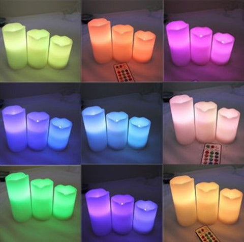 Colorful Remote Control LED Changing Vanilla Flame-less Wax Time Candles - Decor Home Ideas - 7