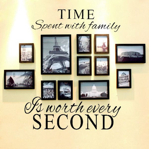 ''Time Spent with Family is Worth Every Second'' Removable Art Wall Quote Decal - Decor Home Ideas - 1