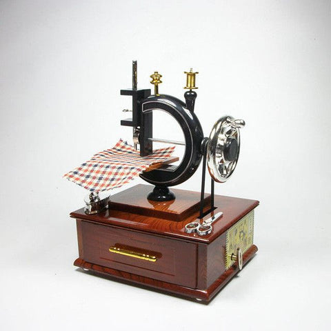 Mini Antique Look Clockwork Sewing Jewelry Machine Mechanical Music Box - Decor Home Ideas - 1