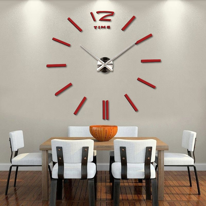 3D Digital Mirror Wall Clock Decor Home Ideas