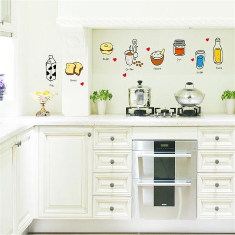 Cartoon Food Kitchen Removable Wall Stickers - Decor Home Ideas - 1