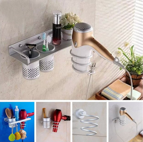 Multi-Function Bathroom Wall Mounted Rack Space Aluminum Shelf Storage Organizer & Hairdryer Holder - Decor Home Ideas - 1