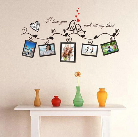 ''I Love you with all my heart ''Photo Frame Loving Bird DIY Decal - Decor Home Ideas - 1
