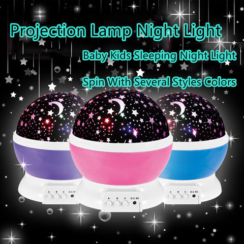 Romantic Rotating LED Night Light For Children, Kids, Baby Sleep USB Lamp Projection