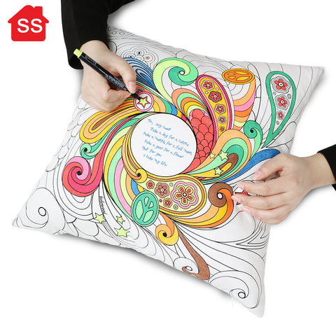 Cotton Graffiti DIY Owl Cushion Decorative Throw Pillow With 12 Cloth Painting Pen Good Gifts