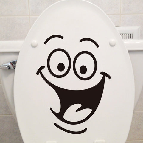 1 pc Smiling face waterproof, big mouth, wall stickers, funny toilet paste, for the living room, bathroom, bedroom, PVC,