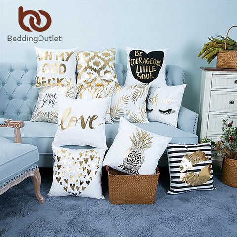 Cushion / Pillow Cover - Gold Printed