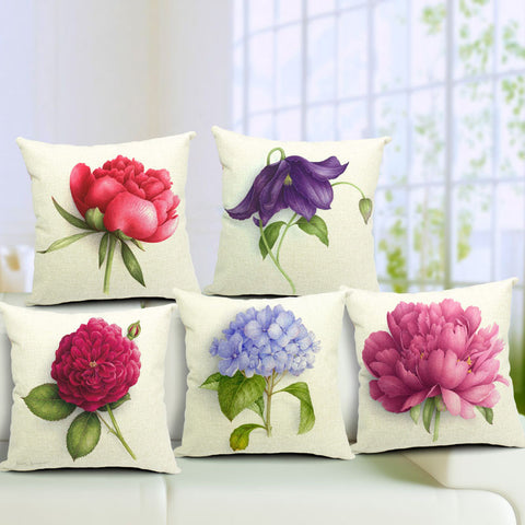 Floral Decorative Linen Pillow Covers