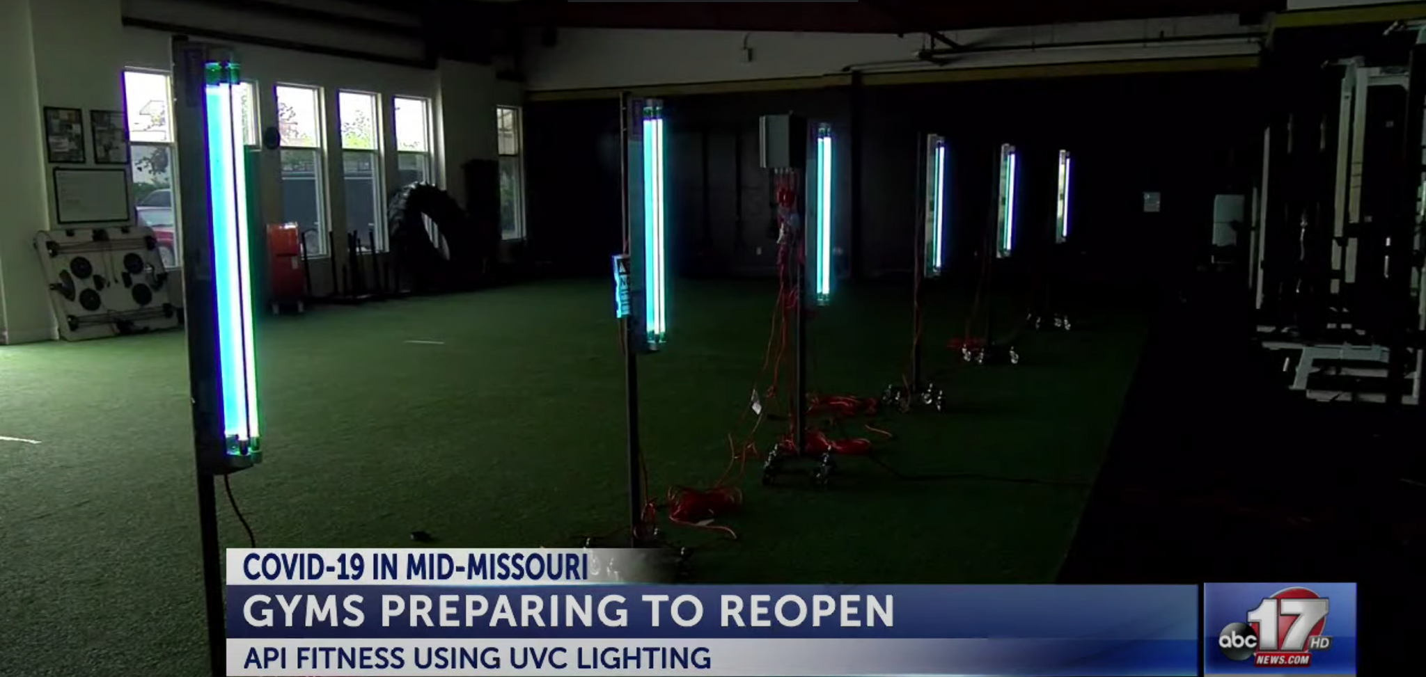 Local gym using UVC lights to disinfect facility