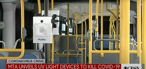 The Metropolitan Transportation Authority (MTA) unveils ultraviolet light devices that reportedly kill coronavirus