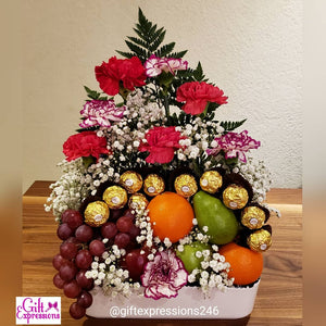 Fruit, Flowers & Chocolate Arrangement