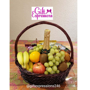 DELIGHTFUL FRUIT, TREAT AND NON-ALCOHOLIC WINE BASKET - Gift Expressions