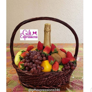 Charming Fruit & Non-Alcoholic Wine Basket - Gift Expressions