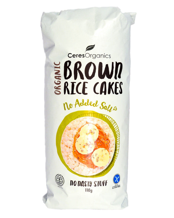 Ceres Organics Brown Rice Cakes No Added Salt (110g) - Organic Store NZ