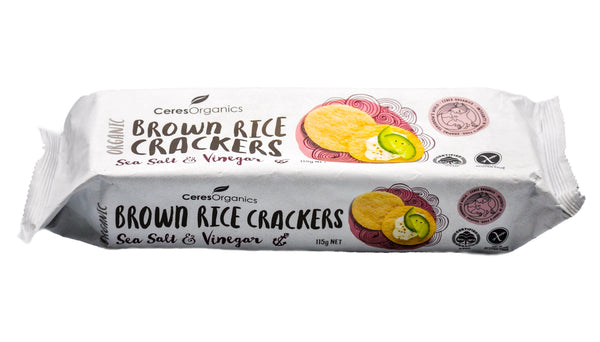 Ceres Organics Brown Rice Crackers - Sea Salt & Vinegar (115g) Sea Salt & Vinegar (115g) - Organic Store NZ