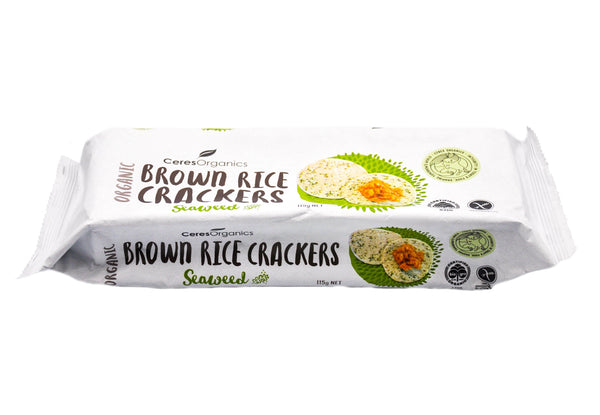 Ceres Organics Brown Rice Crackers - Seaweed (115g) Seaweed (115g) - Organic Store NZ