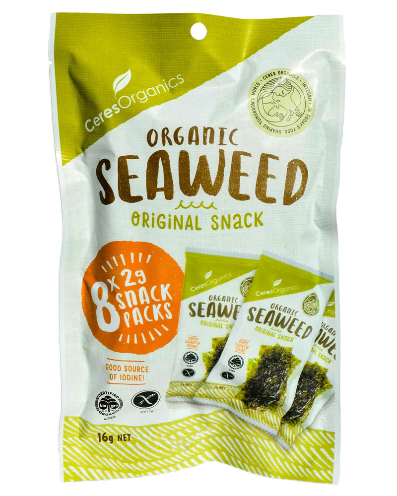 Ceres Organics Roasted Seaweed Snack Packs (2g x 8) - Organic Store NZ