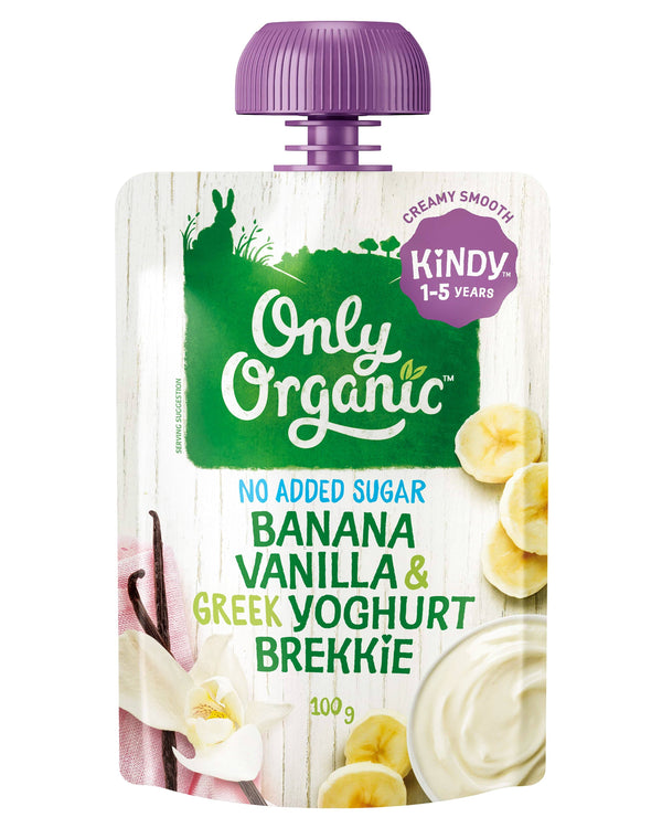 D - Only Organic Kindy 1-5 years Banana Vanilla & Greek Yoghurt Brekkie (100g) - Organic Store NZ
