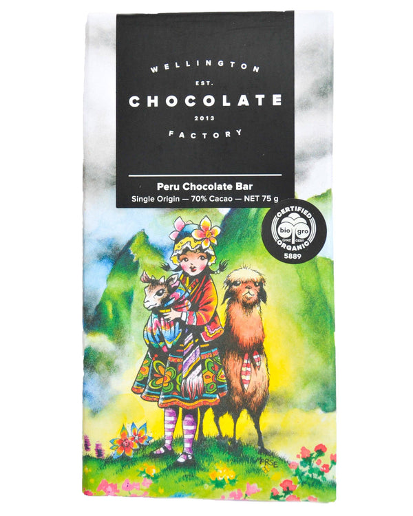 D - Wellington Chocolate Factory Peru Chocolate Bar (75g) - Organic Store NZ