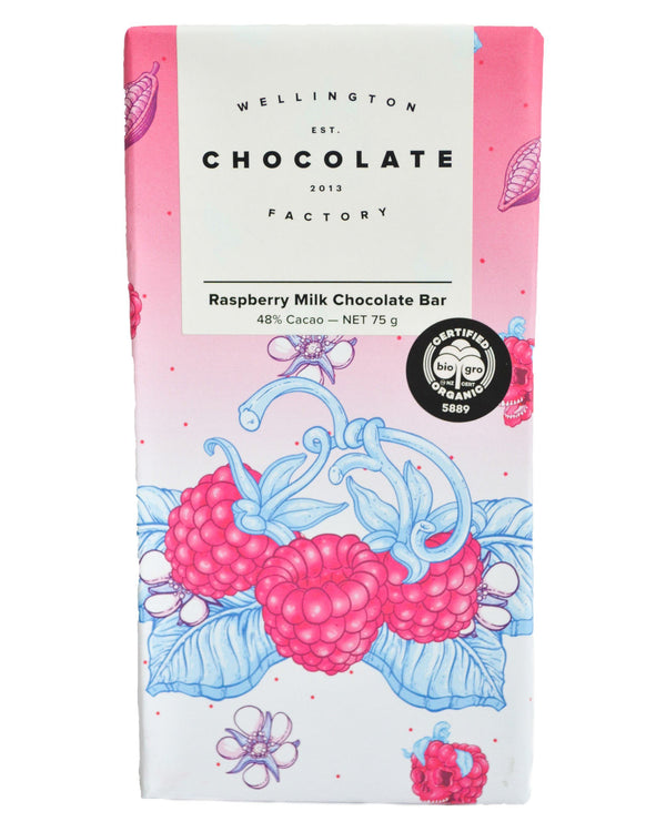 D - Wellington Chocolate Factory Raspberry Milk Chocolate Bar (75g) - Organic Store NZ