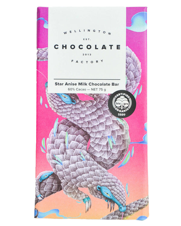 D - Wellington Chocolate Factory Star Anise Milk Chocolate Bar (75g) - Organic Store NZ