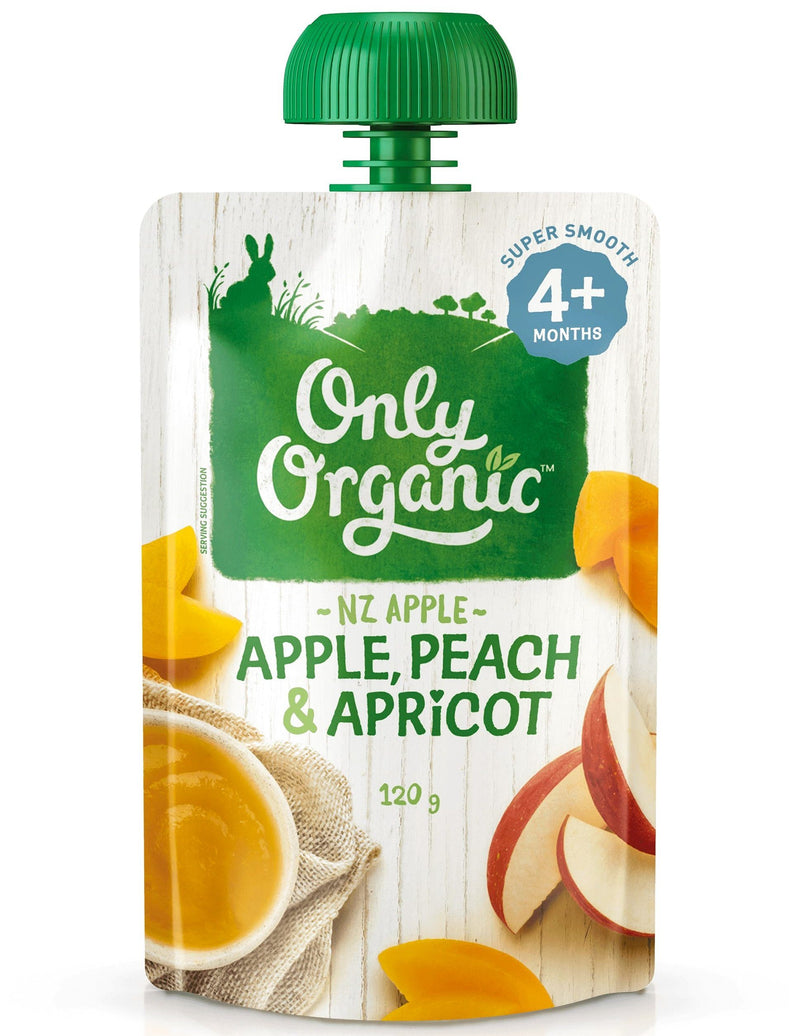 Only Organic 4+ months Apple Peach & Apricot (120g) - Organic Store NZ
