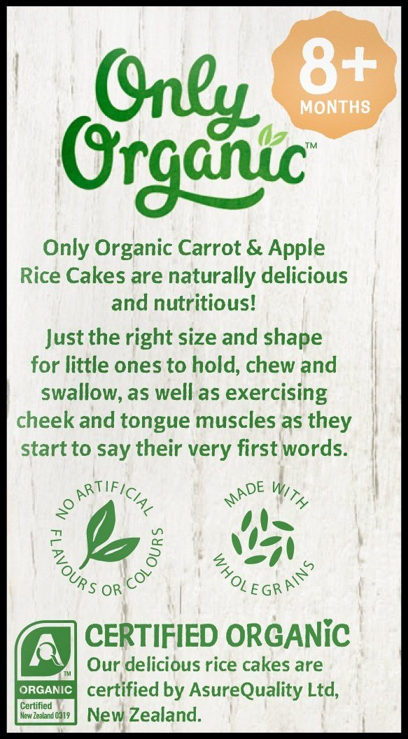 Only Organic 8+ months Carrot & Apple Rice Cakes (20g) - Organic Store NZ