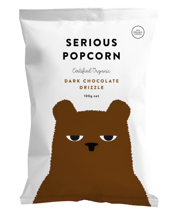 Serious Popcorn - Dark Chocolate Drizzle (100g) Dark Chocolate Drizzle (100g) - Organic Store NZ