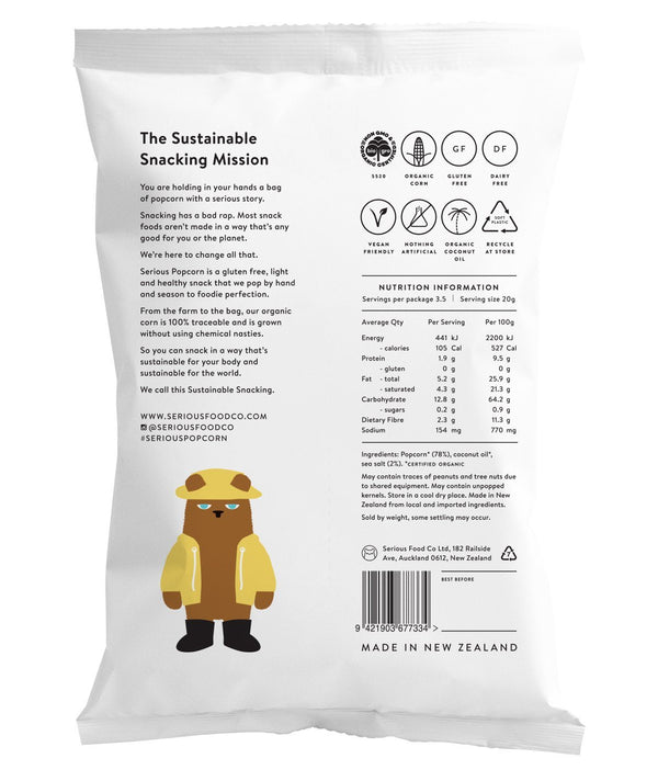Serious Popcorn - Sea Salt (70g) - Organic Store NZ
