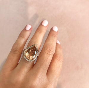 Pear-Cut Morganite and Diamond Ring at Wrights Jewellers in Auckland