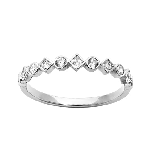 stackable diamond ring set in white gold