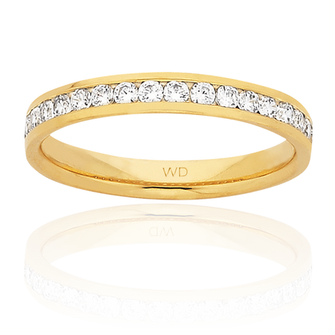 classic ladies channel-set diamond wedding ring in yellow gold