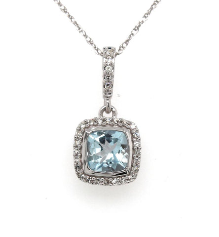 Aquamarine and Diamond pendant, set in white gold