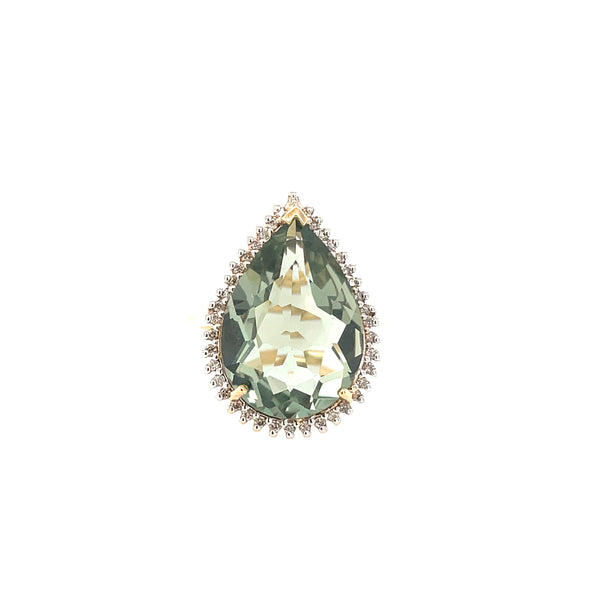 Pear cut Green Amethyst Ring