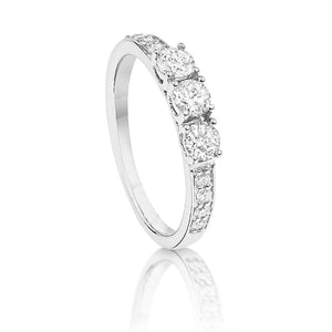 three stone diamond engagement ring set in white gold