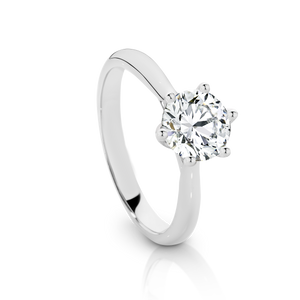 Our Signature Solitaire engagement ring set with a single 1.00ct Diamond.  18ct White Gold.