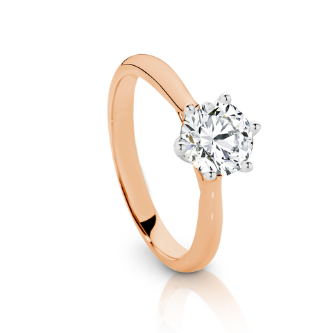 Our Signature Solitaire engagement ring set with a single 1.00ct Diamond.  18ct Rose Gold.