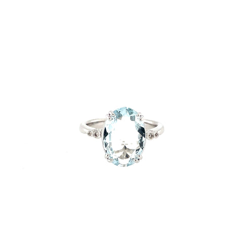 Oval Cut Aquamarine Ring set in White Gold