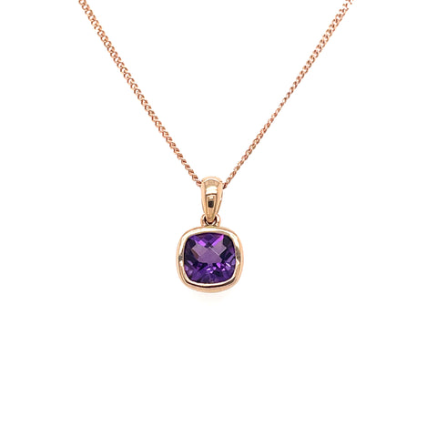 Amethyst Pendant in Rose Gold